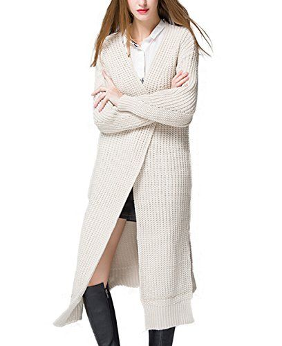 GEXMEE Women's Street Fashion Trendy Long Knitted Open Front Cardigan  One Size: shoulder(23.6″), bust(39.3″), length(40.1″ to 44.8″), sleeve(18.9′) Material: wool and acrylic blends Features: open front , long sleeve, side slit Hand wash; do not bleach; do not tumble dry Style: street fashion There are many unique styles women clothing and accessories being offered by GEXMEE.Created with fashionable design elements of the coats are stylish touch in classic look.With reasonbale price..