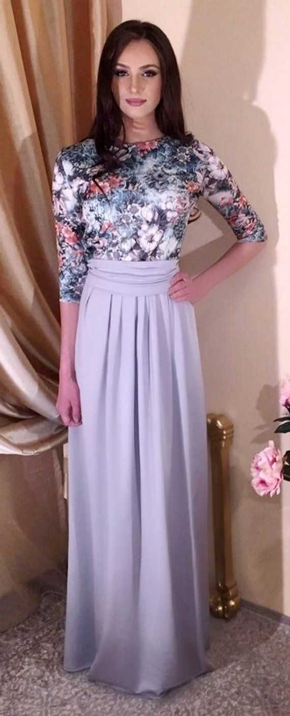 Gray floral maxi dress round neckline long sleeves pockets sash