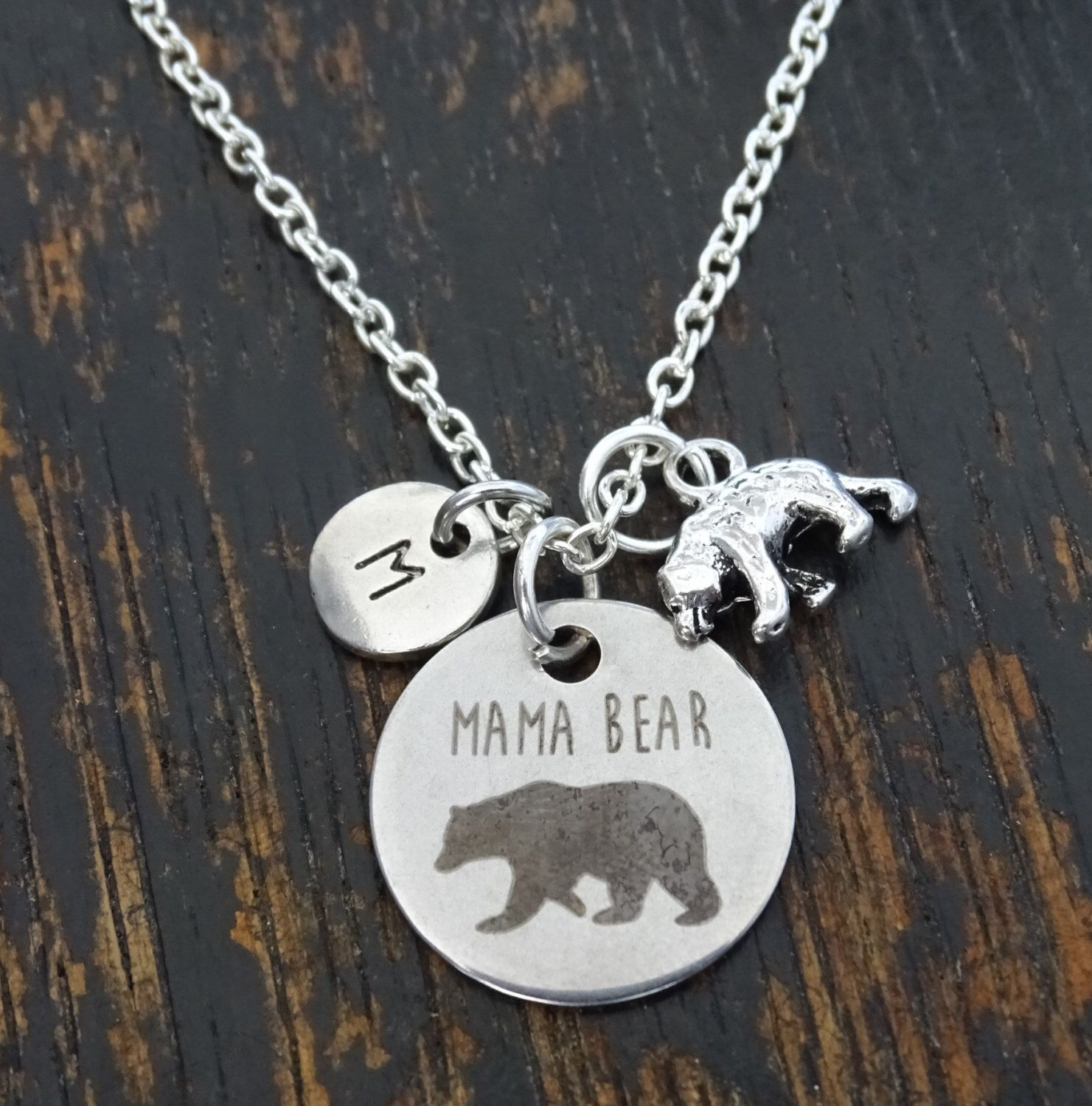 established bear pin personalized gift for christmas gold year custom mothers momma day necklace mama mom