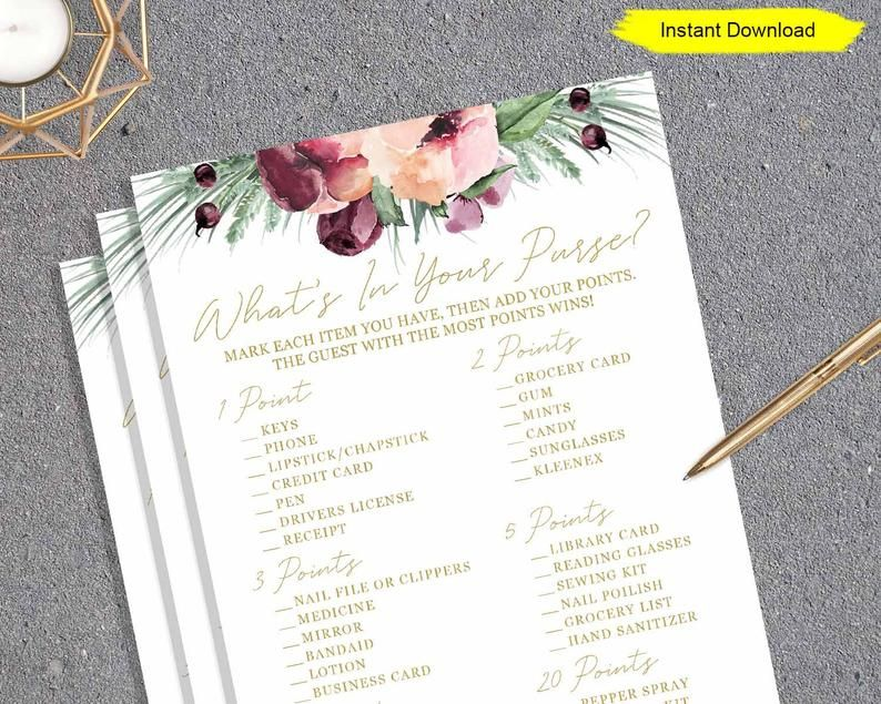 Champagne Flowers What S In Your Purse Game Instant Download