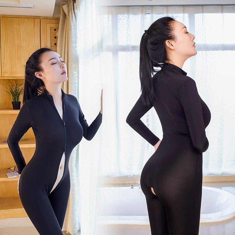 a3174842b0cb7 Lady Sexy Playsuit Catsuit Zipper Slim Bodycon Bodysuit Crotchless ...