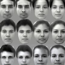 Pares de imágenes de caras, originales (izquierda) y recreadas (a la derecha de cada cara). Cell.