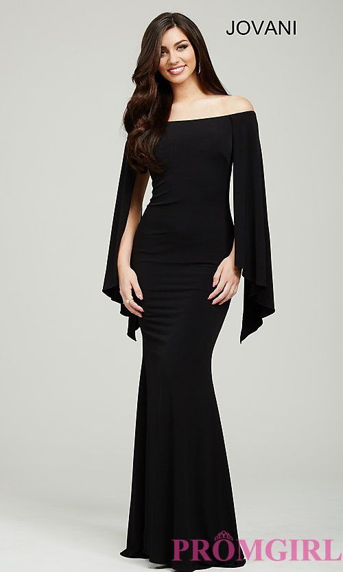 52c5d800e2d Off the Shoulder Long Jovani Prom Dress with Wing Sleeves | Gucci ...