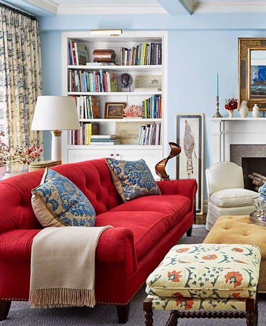 Ideas deco c mo decorar el sal n con un sof rojo en 2019 - Ideas para decorar un salon ...