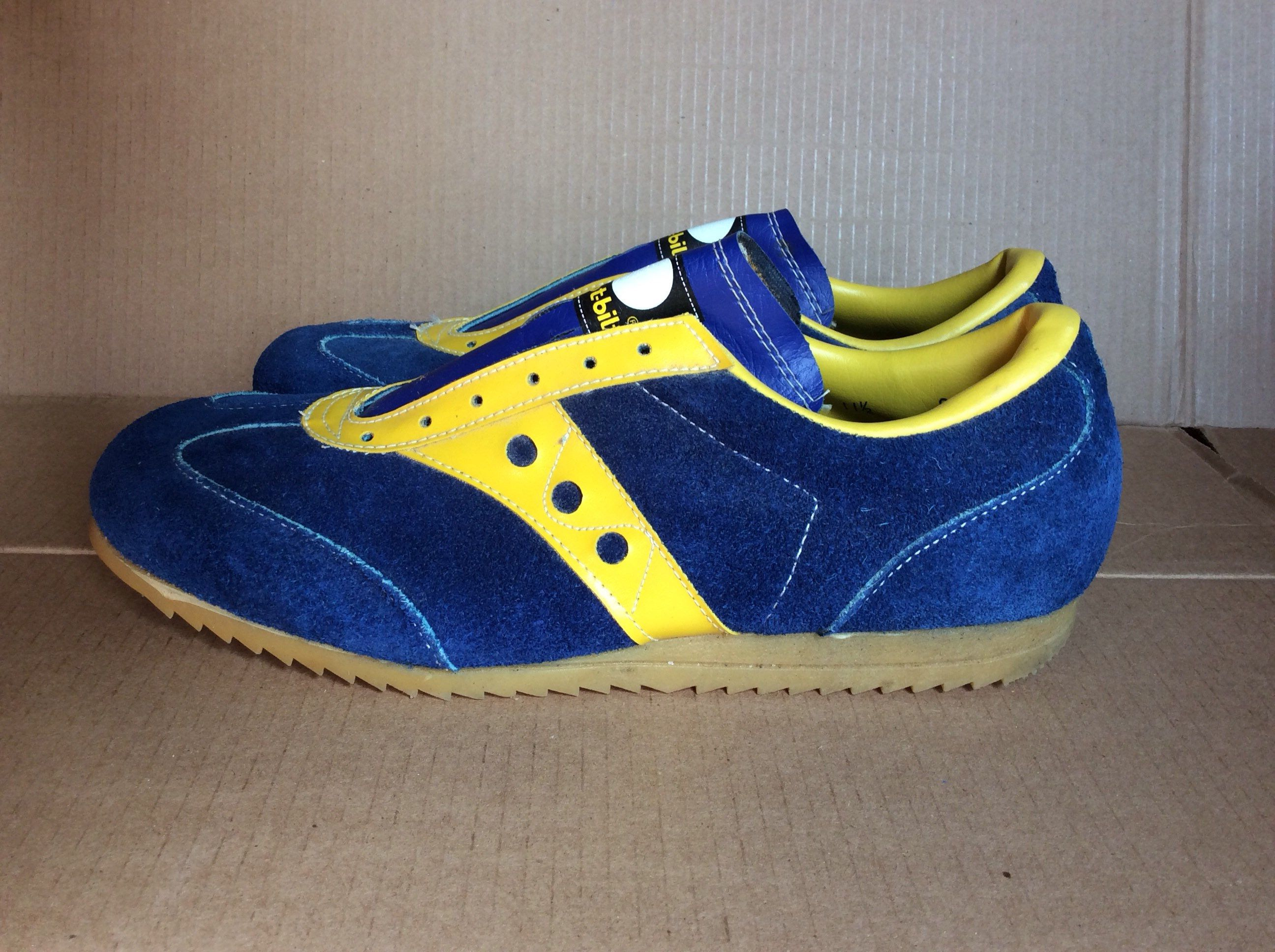 58724fe690288 1970s suede leather track shoes sneakers size 11.5 blue yellow ...