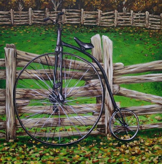 Retro Bicycle Print Penny Farthing Giclee Wall Art 10x10 Home
