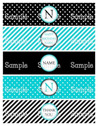 Printable Classy Teal Blue Black Personalized Water Bottle Label