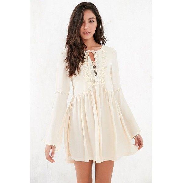 Kiss The Sky Instant Karma Dress ($89) ❤ liked on Polyvore featuring dresses, applique dress, bohemian dress, boho chic dresses, pink dress and boho bell sleeve dress