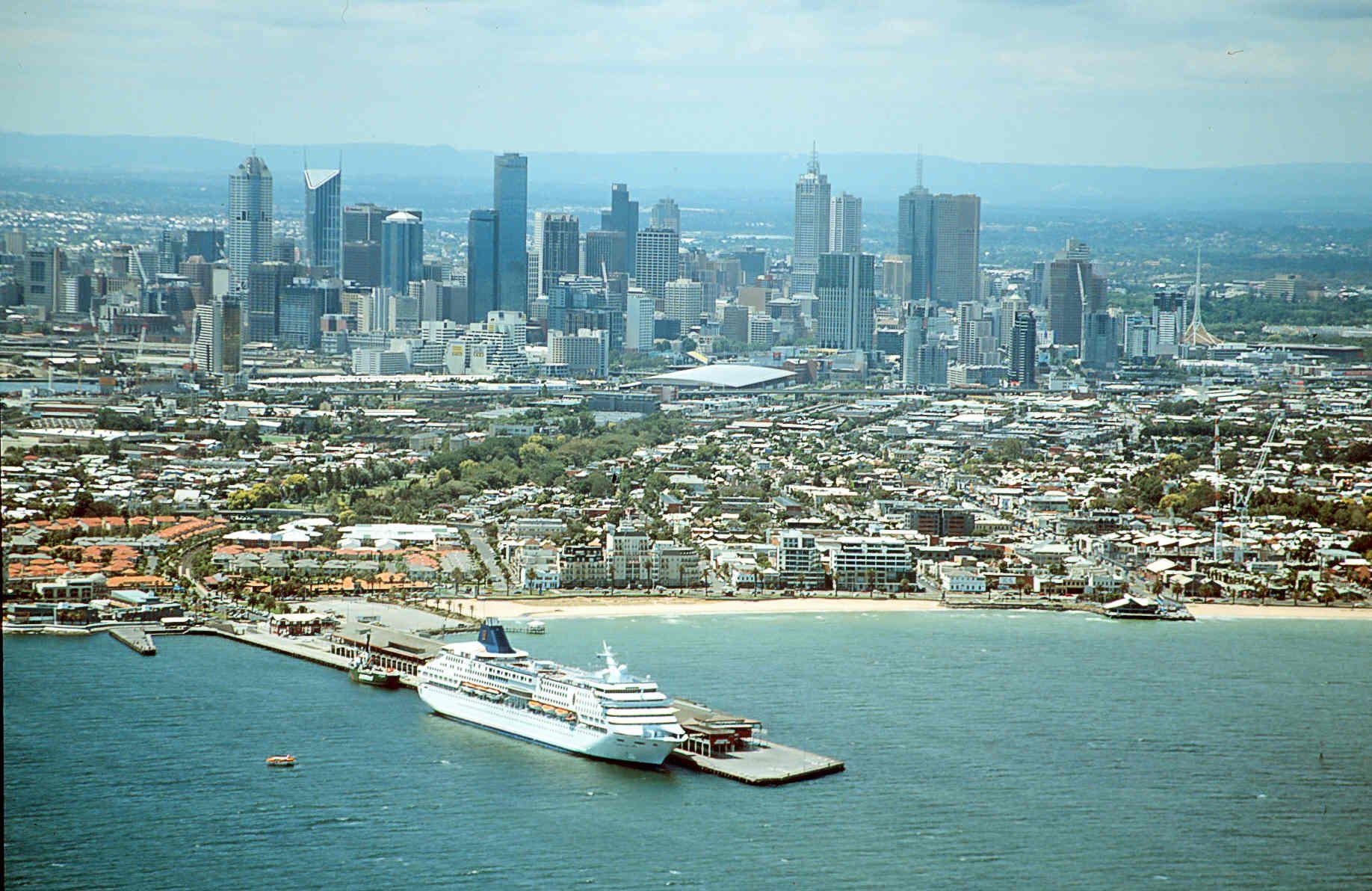 Aerial view Melbourne skyline, Victoria australia