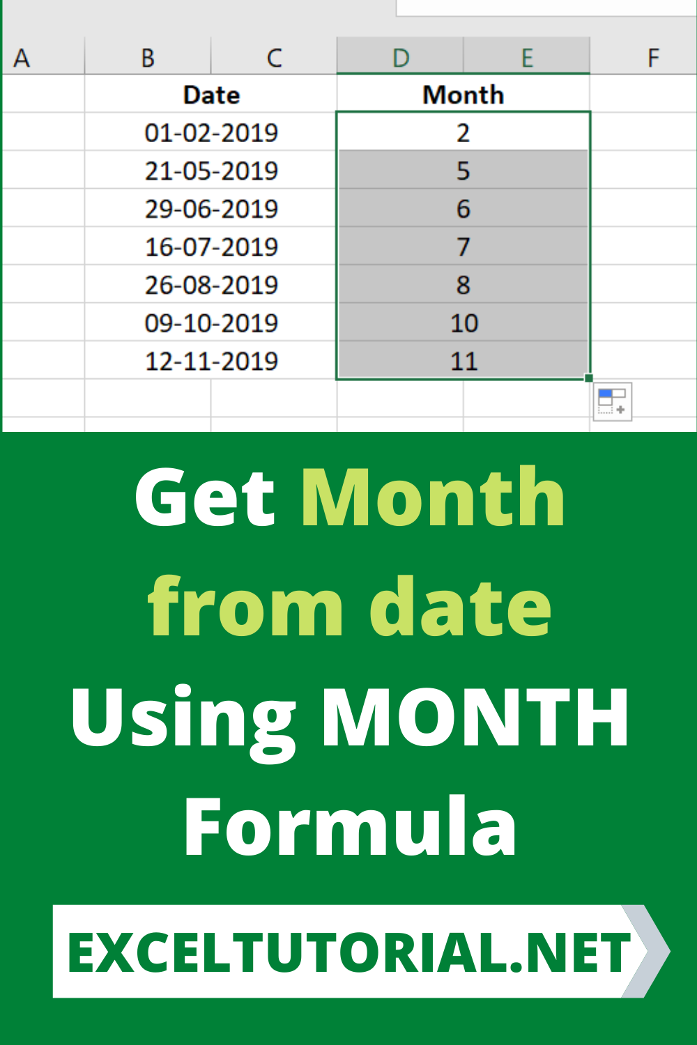 Get Month From Date Using Month Formula Excel Microsoftexcel Exceltutorial Exceltutorials Exceltut In 2021 Excel Tutorials Microsoft Excel Tutorial Excel Formula