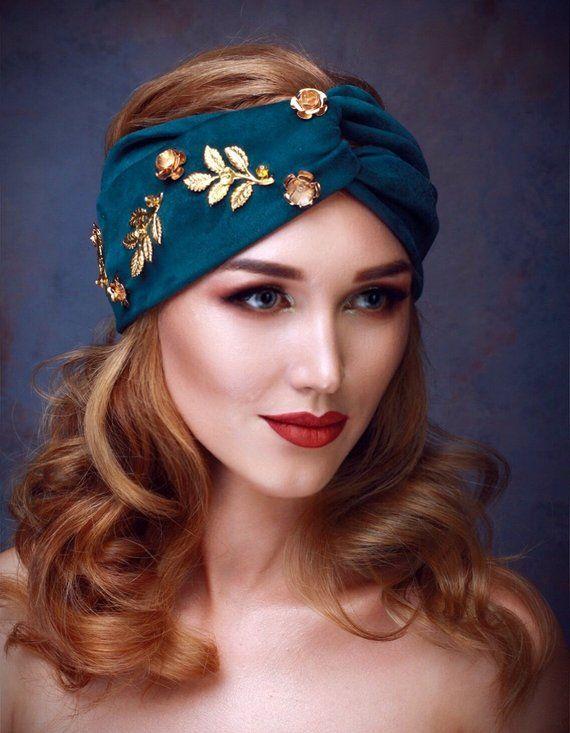 KIKI Suede Turban Headband Emerald Fall Fashion Women s Headband Boho Chic  Gift For Her Green Suede 2a044e84753