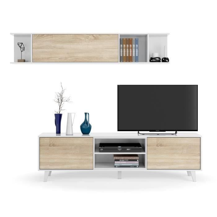 Photo of ZAIKEN PLUS Meuble TV scandinave blanc brillant et décor chê…