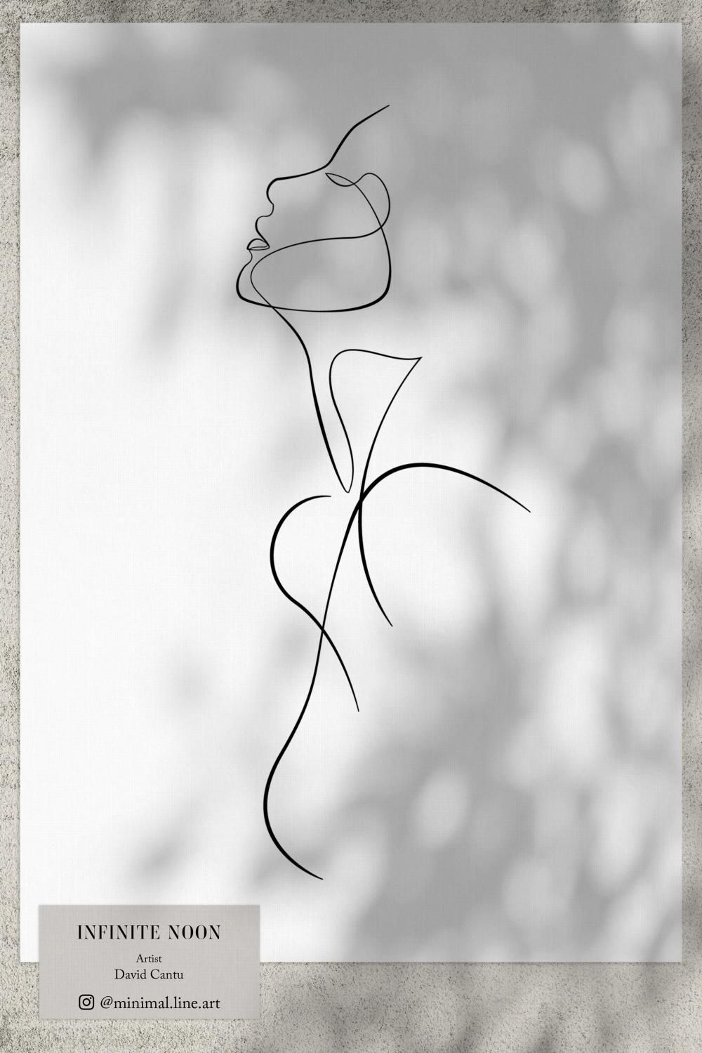 Abstract Minimal Woman Outline Drawing | Printable Modern Wall Art