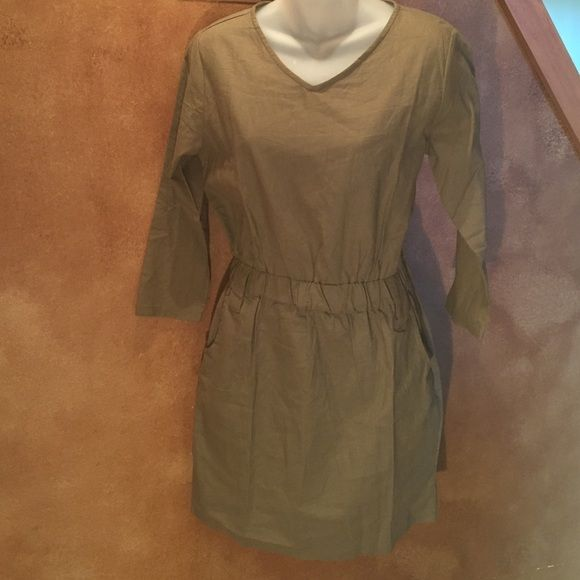 YMYG Cotton/Linen blend Dress Army green 3/4 sleeve dress with side pockets and elastic waist...2 loops for a belt or can be worn without.  Super comfy and cute! YMYG Dresses Midi