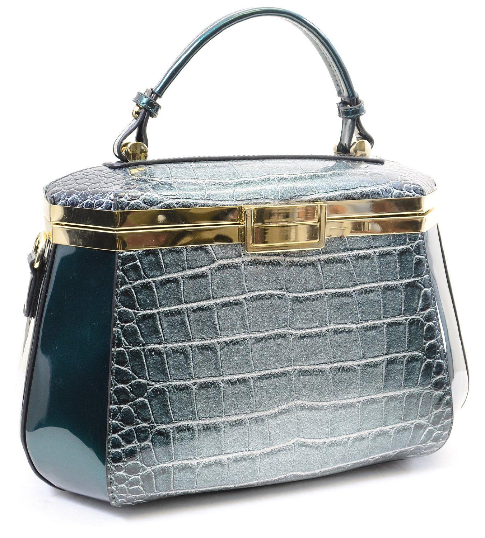 Retro 50s Style Green Vegan Snake Vintage Hexagon Crossbody Handbag Purse
