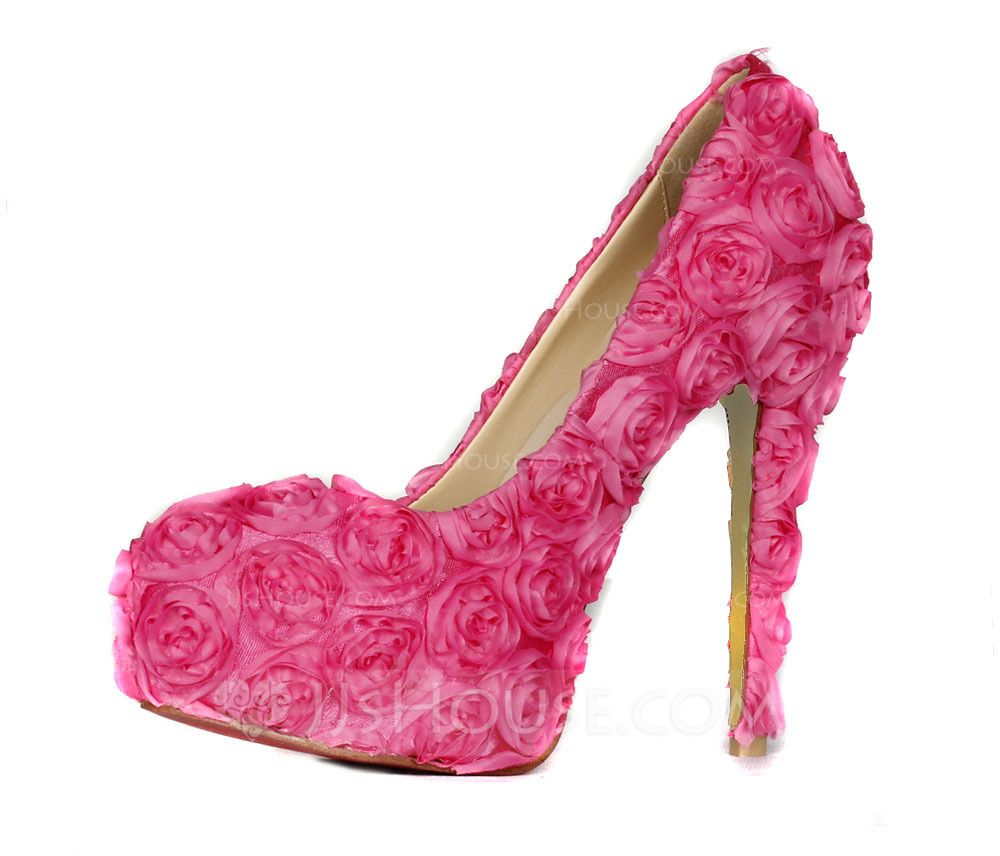 Womens Cloth Stiletto Heel Closed Toe Platform Pumps With Flower
