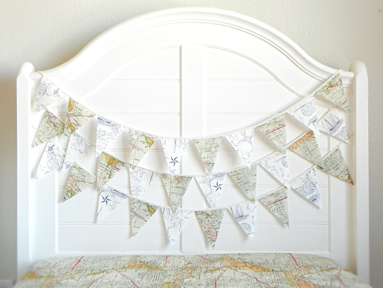 Map Garland For Nursery Fabric Bunting Flags Travel Wedding Nautical
