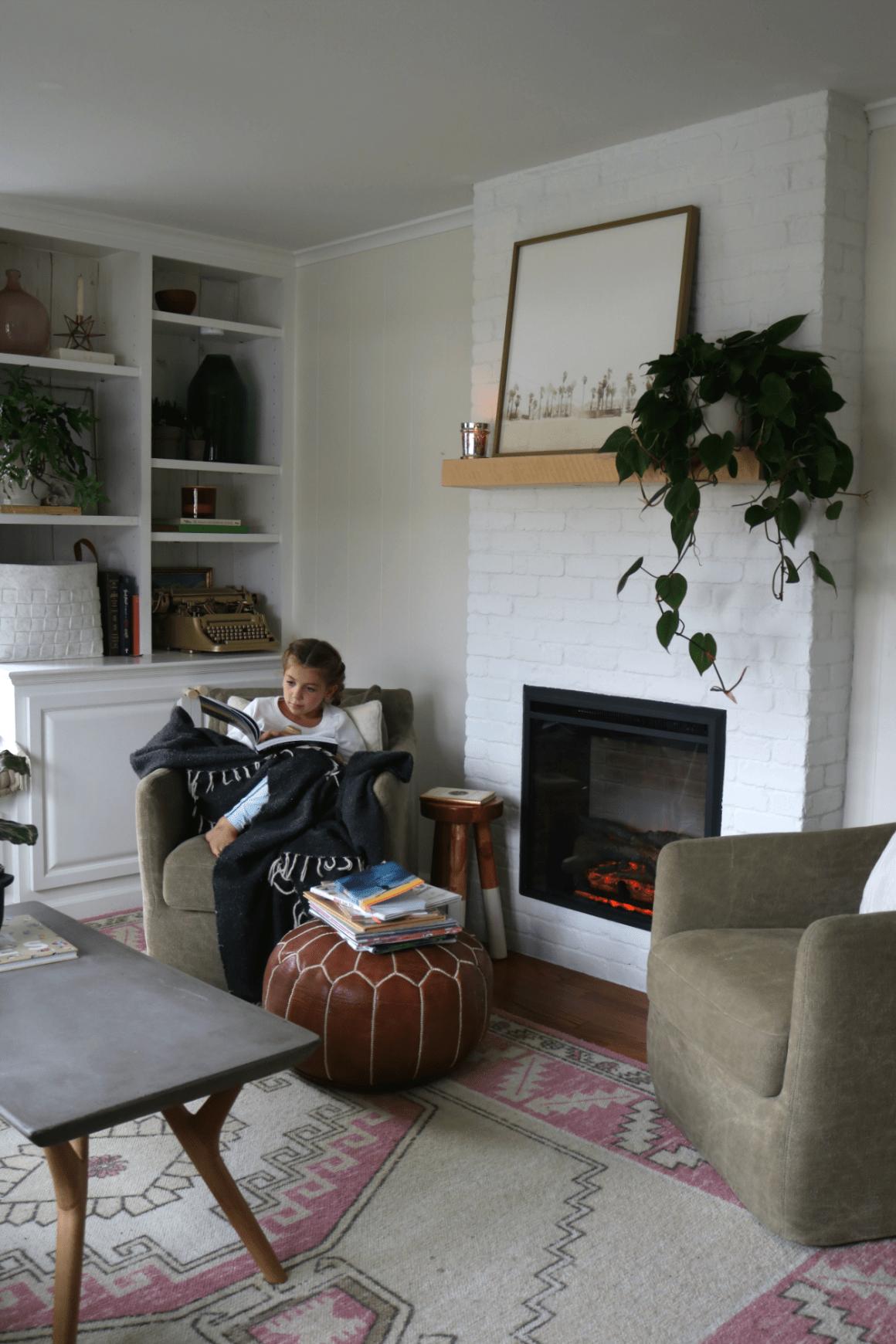 Fireplace Reveal- Our Electric Brick Fireplace #whitebrickfireplace