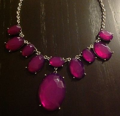NWT Ann Taylor LOFT Purples Quartz Crystal Statement Pendant Necklace NEW