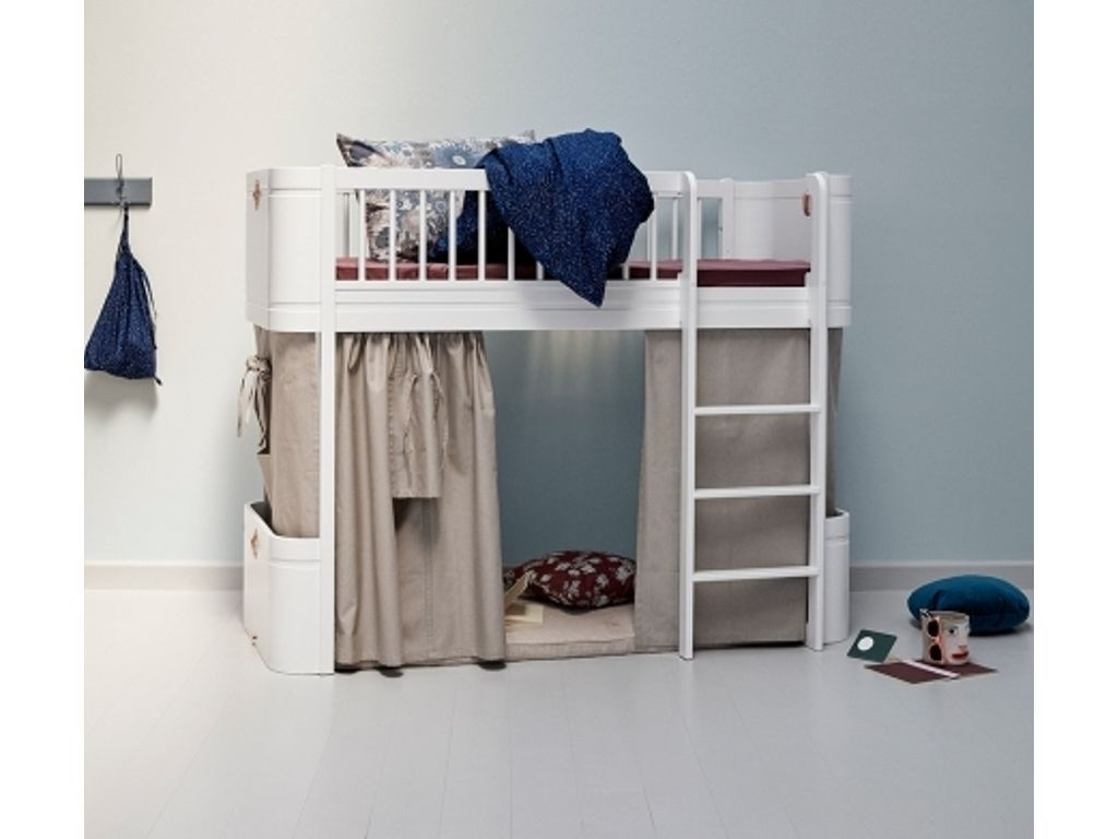Oliver Furniture Wood Mini Low Loft Bed In All White With Curtain Children Furniture Shop Low Loft Beds Loft Bed