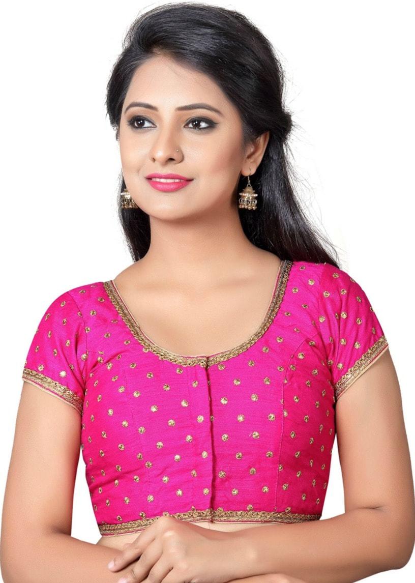 adb278650cd82a Deep Pink Banaras Brocade Silk Ready wear Blouse