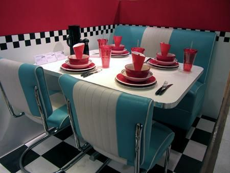 american diner style in red, white & turquoise in london ... - American Diner Küche