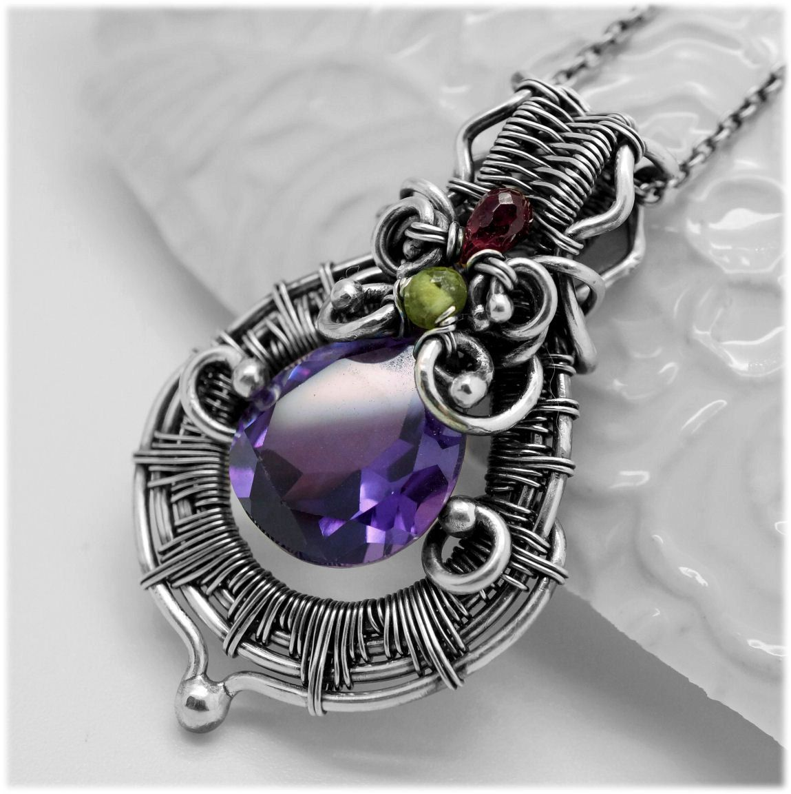 Heady wire wrap pendant wire wrapped pendant with alexandrite heady wire wrap pendant wire wrapped pendant with alexandrite pendant with gemstones purple pendant silver necklace aloadofball Choice Image