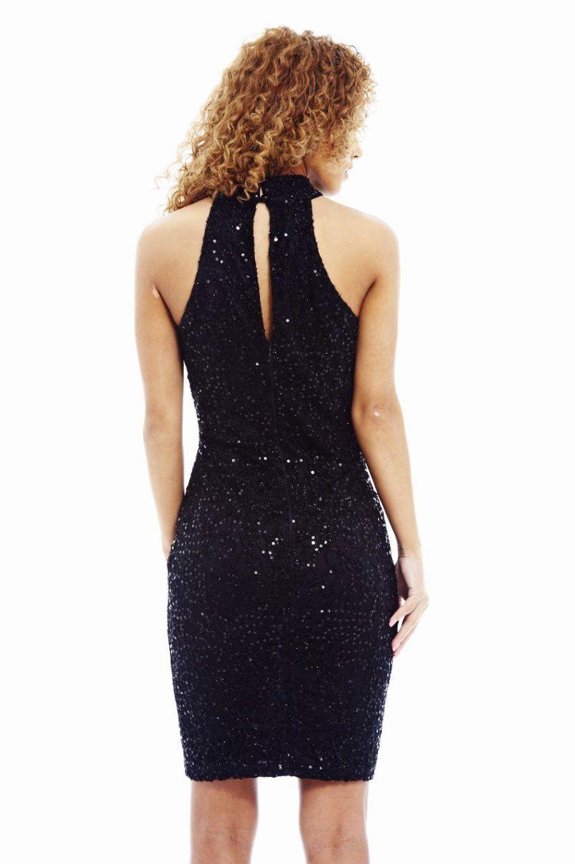 BLACK SEQUIN HIGH NECK DRESS   Shop Trendy Unique Cute Clothes & Accessories   ModMint