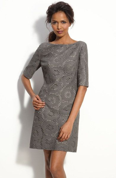 Adrianna Papell Lace Shift Dress in Gray (grey) - Lyst