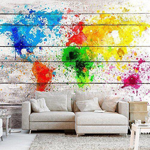 Murando papier peint intissé 400x280 cm papier peint tableaux muraux déco xxl carte du monde bois coloré k b 0008 a a amazon fr bricolage