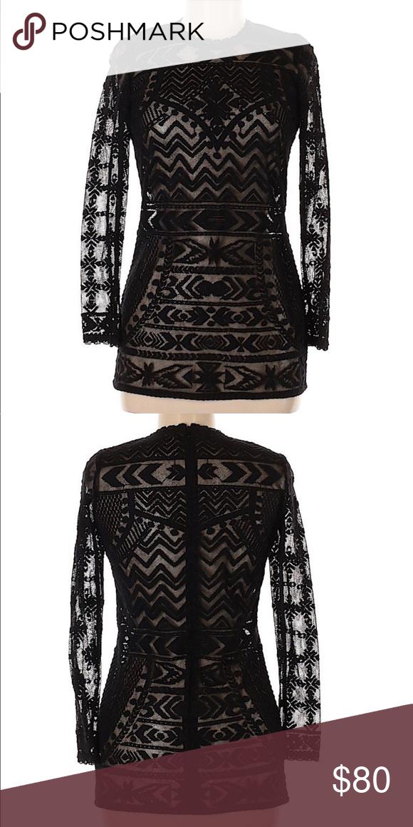 bb6871430903b NWOT Isabel Marant Pour H&M Black Mesh Lace Blouse Crew neckline 3/4 Sleeve  Black