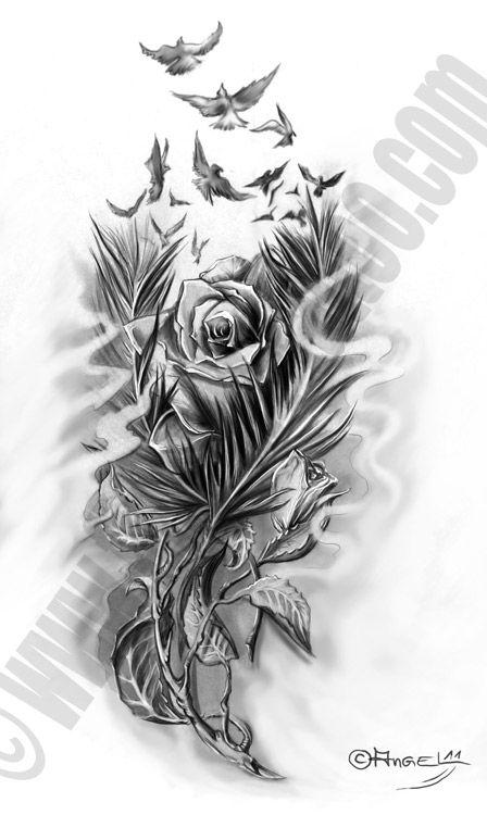 Fine Art Tattoo Flower Feather Tattoos Feather Tattoo Design