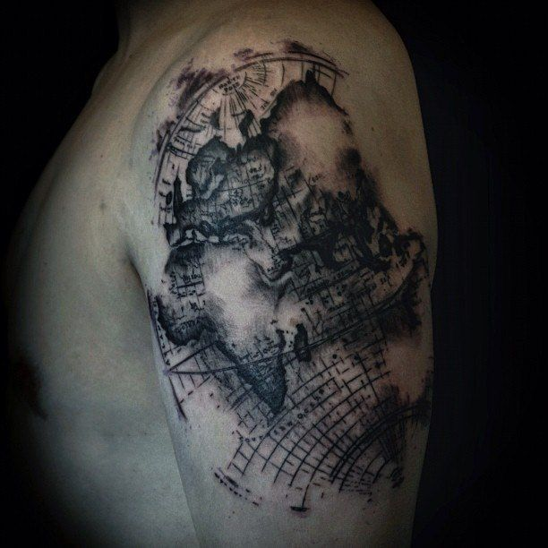 26 world map tattoos with releasing and wandering meanings gumiabroncs Images