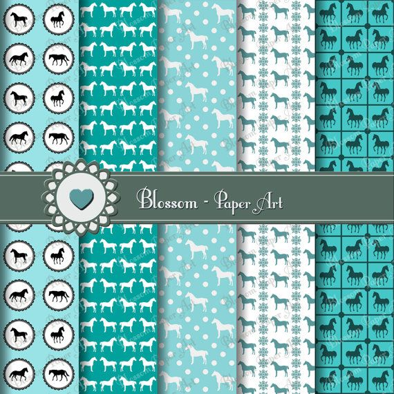 Light Blue Horses Scrapbooking Paper - Cardmaking - Wrapping Paper - Scrapbooking - Handmade Stationery