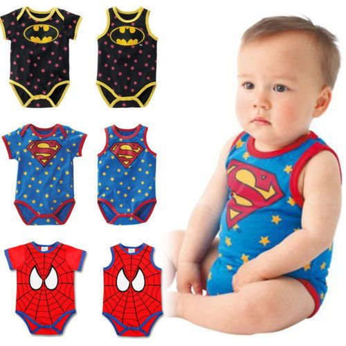 bf230f04c4bd  6.9 - Newborn Baby Summer Superman Batman Babygrow Romper Boys ...