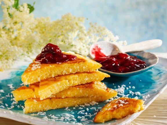 Kokos-Houlnderblütenpfannkuchen ist ein Rezept mit frischen Zutaten aus der Kategorie Pfannkuchen. Probieren Sie dieses und weitere Rezepte von EAT SMARTER!