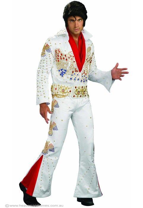 Elvis Presley Men s King Of Rock Costume, White Jumpsuit Elvis Costume -  Halloween Costumes   fancy dress costumes Australia   wigs, masquer. 729cb818aec8