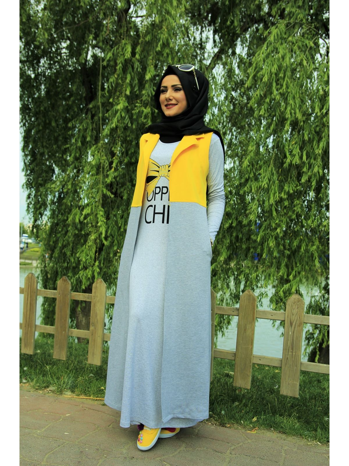 5 Parca Super Yaz Kombini Sari Islami Moda Musluman Modasi Spor Giyim