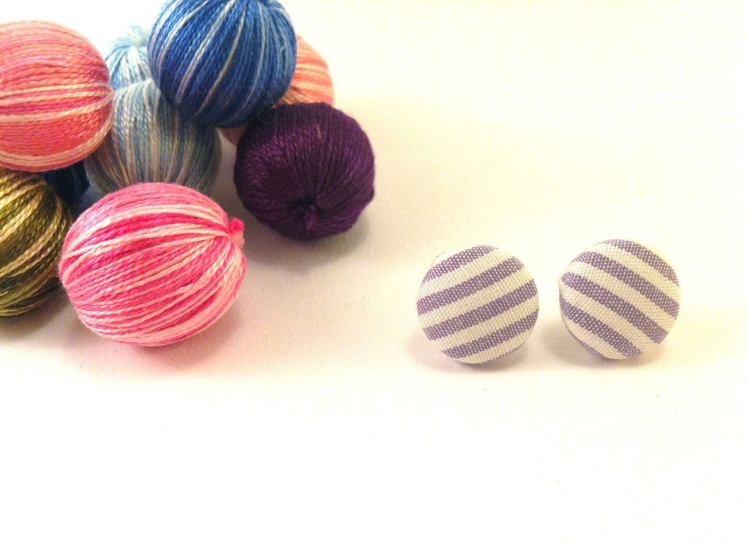 Purple fabric covered button earrings with stripes by Mariabuttons