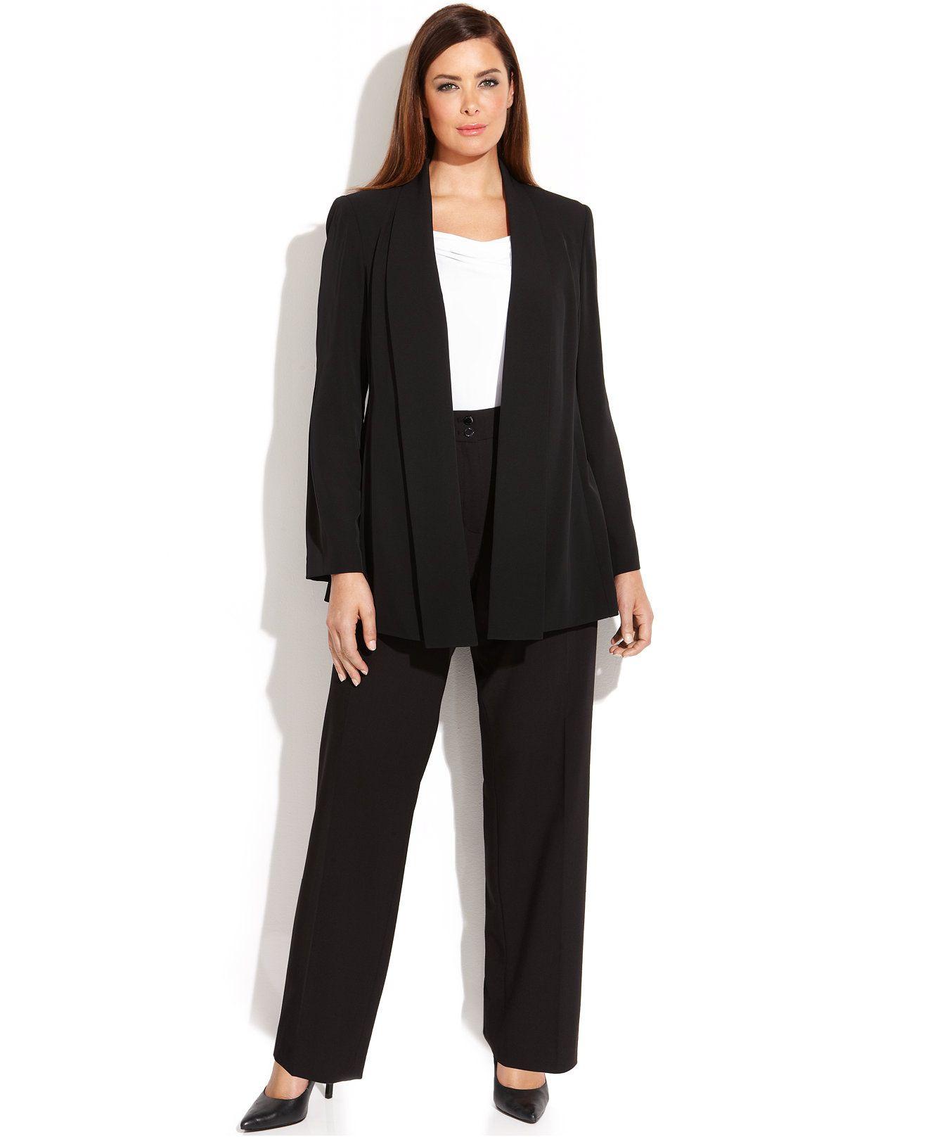 Calvin Klein Plus Size Soft Jacket Cowl Neck Top Wide Leg Dress