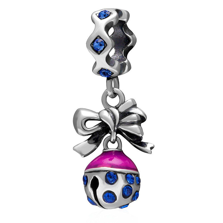 Crystal Beads Necklace Number Fit Pendant 925 Bracelet Silver CZ Charm