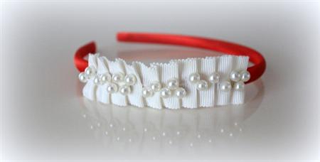 Christmas themed red & ivory pearl headband