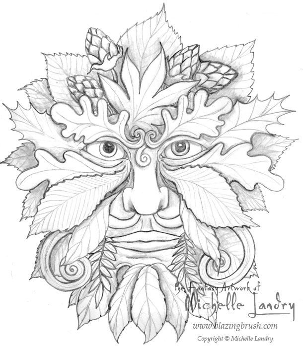 Green Man Drawings Green Man Sketches Coloring Pages