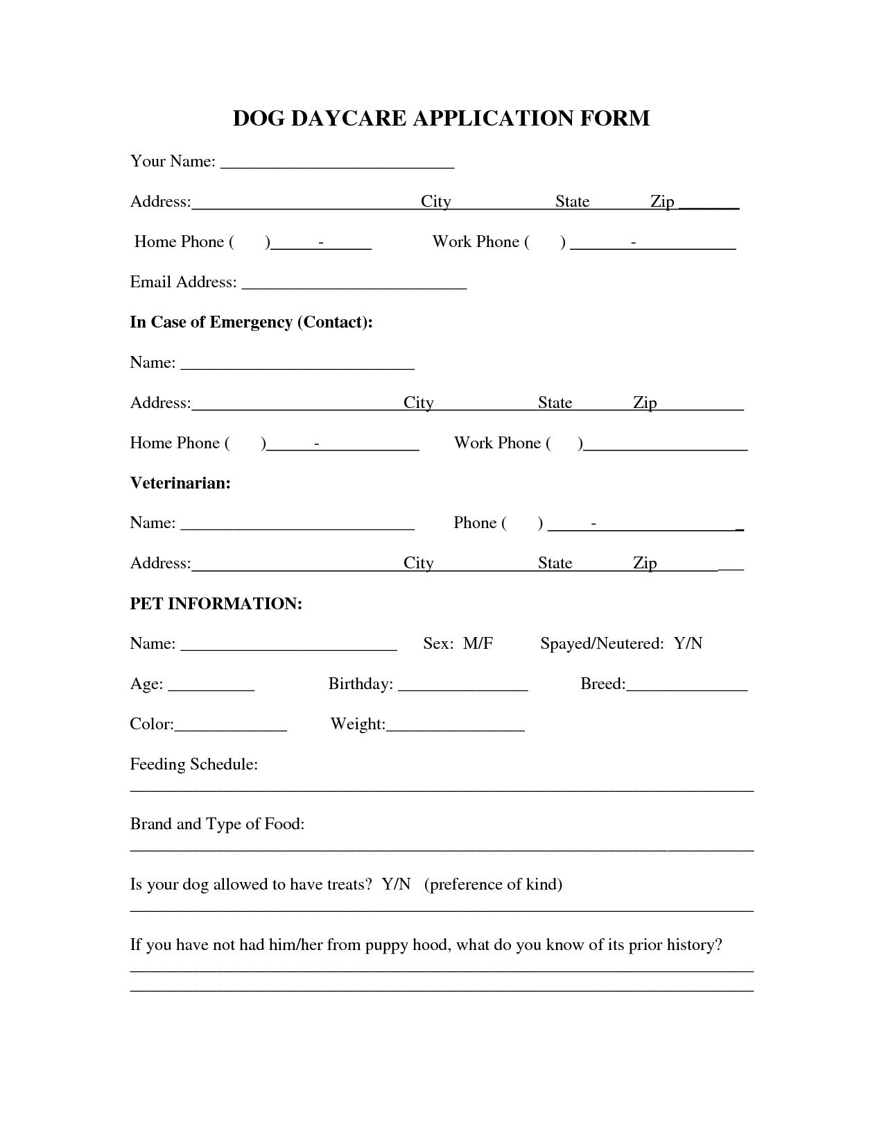 Dog Daycare Schedule Dog Daycare Application Form More