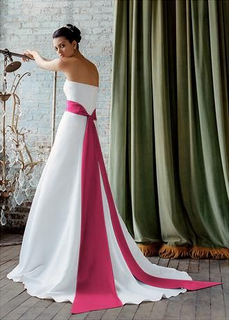 White Wedding Dress With Hot Pink Sash 38 | Tie the knot | Pinterest ...