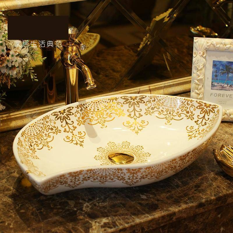 Oval Bathroom Ceramic Sink Wash Basin, Patterned Bathroom Sinks