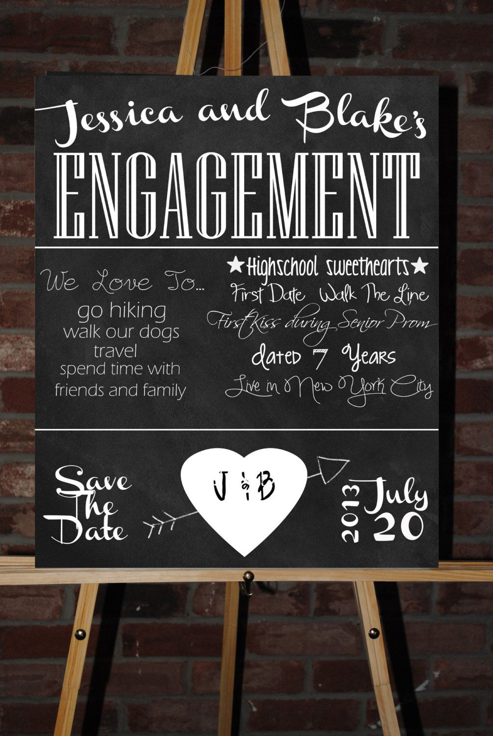 Christmas Engagement Party Ideas Part - 43: Custom Printable Engagement Party Board By ChalkingItUpBoards