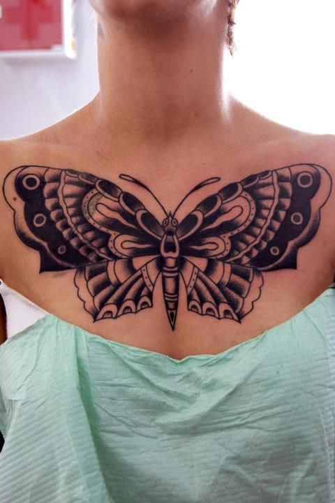 Butterfly chest tattoos for women for Chest tattoos for women