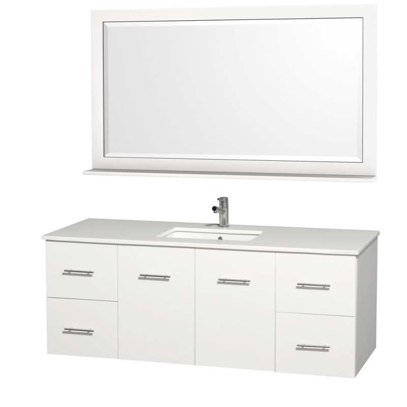 "Wyndham Collection WCV00960SN 60"" Centra Wall Mount Single Vanity Set - Includes"