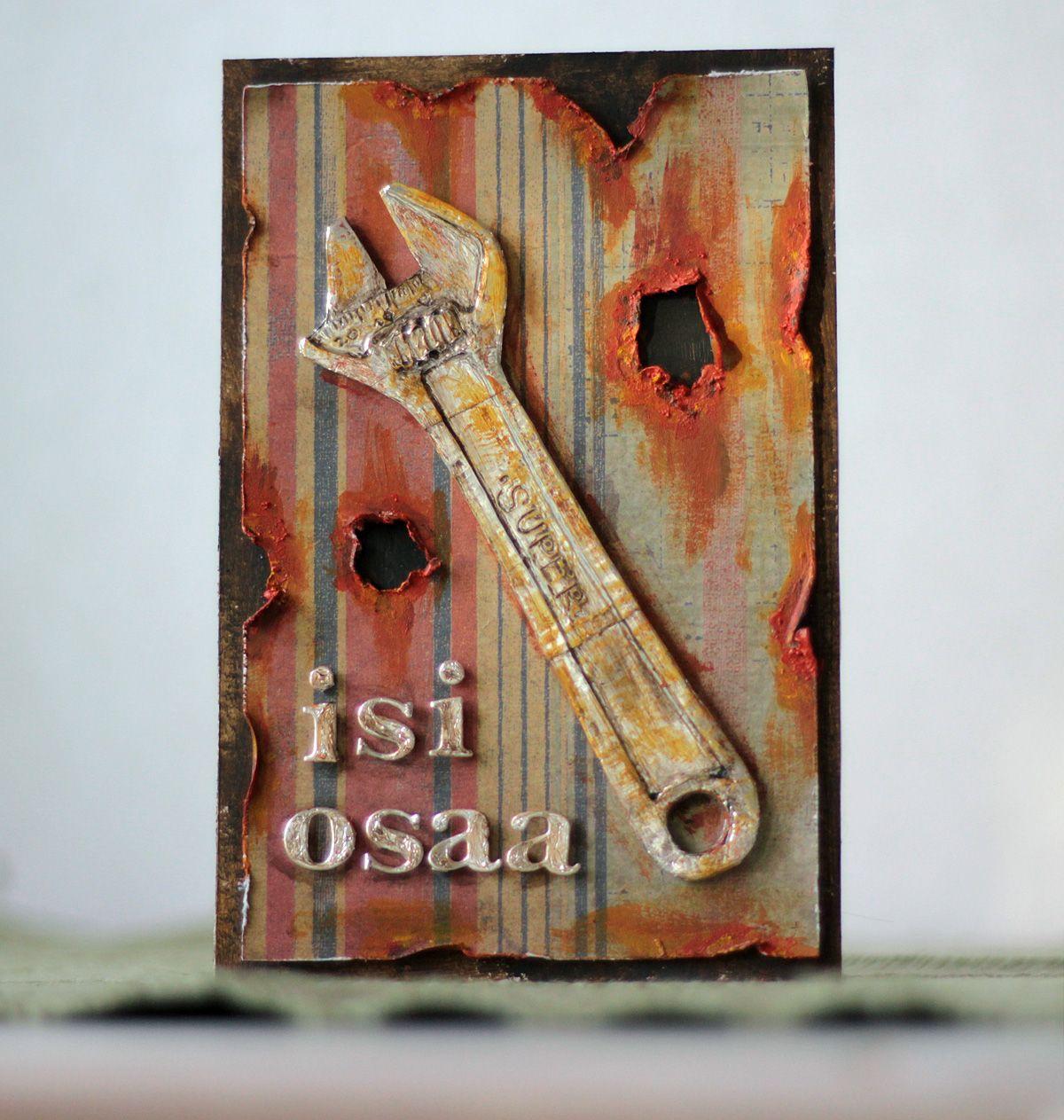 Isänpäiväkortti alumiiniteippaillen | Pastellipäivä